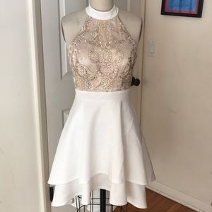 City Triangles homecoming party dress gold lace 7